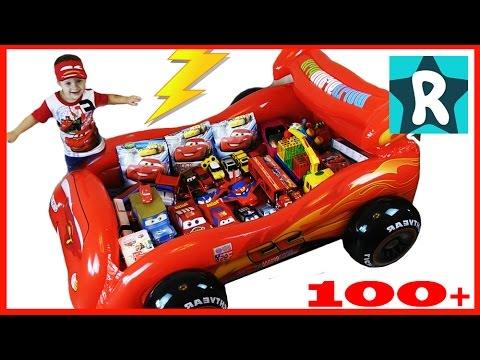 100-cars-toys-GIANT-SURPRISE-OPENING-Disney-Pixar-Lightning-McQueen-100-Tachki-MOLNIYA-MAKVIN