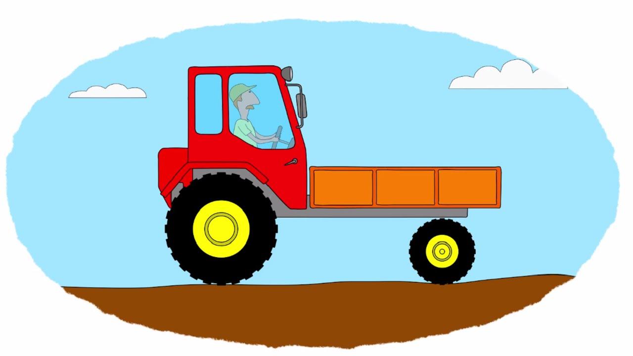 Мультик раскраска трактора