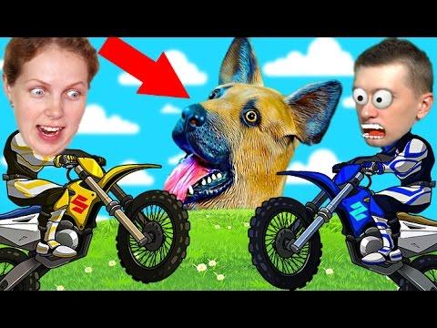 Veseloe-RAZVLEKATELNOE-VIDEO-DLYA-DETEJ-gonki-na-mototsiklah-SOBAKA-igraet-v-mad-skills-motocross