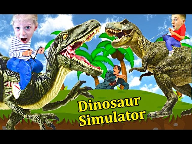 Igraem-v-SIMULYATOR-DINOZAVRA-ohotimsya-na-dinozavrov-razvlekatelnyj-detskij-letsplej-ot-kanala-FFGTV