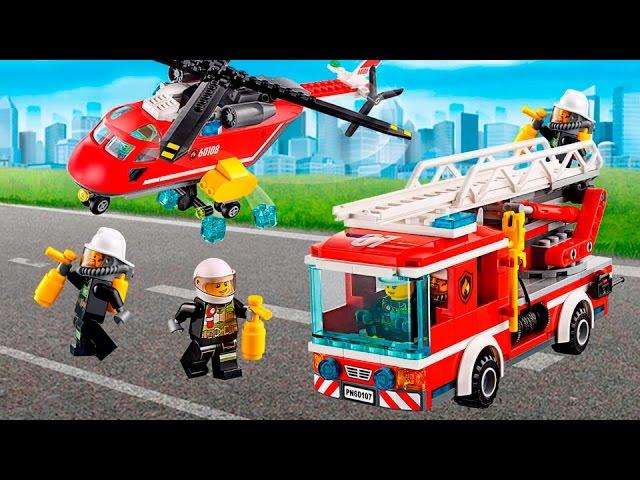 Multiki-Lego-multiki-Pozharnye-mashiny-multfilm-Pozhar-v-gorode-Lego-Siti-LEGO.Multiki-dlya-detej