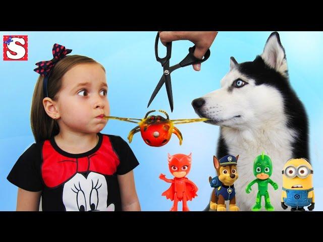 APPARAT-S-IGRUSHKAMI-rezhem-igrushki-Video-dlya-detej-GEROI-V-MASKAH-SHHenyachij-patrul-Toys-for-Kids-Play