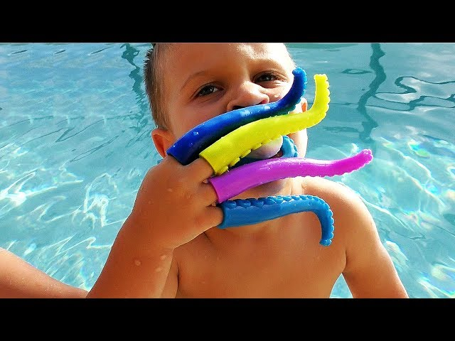 Little-Babies-Playing-in-Pool-with-Octopus-Toy-Family-fun-Games-for-kids-baby-songs-nursery-rhymes