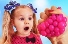 Diana-plays-with-funny-toys-Learn-Colors-with-Squishy-Balls-video-for-children-toddlers