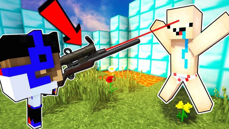 SNAJPERY-V-MAJNKRAFT-PE-Mod-na-Oruzhie-Obzor-na-mody-Video-Nub-protiv-Pro-Trolling-v-Minecraft-PE