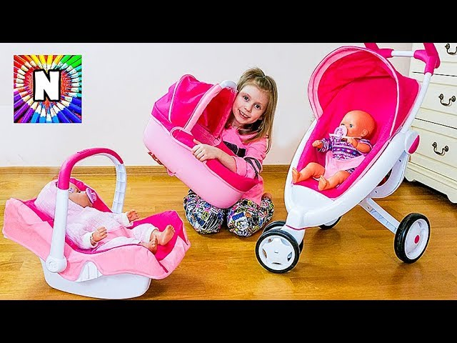 DETSKAYA-KOLYASKA-3-v-1-Dochki-materi-s-Kukloj-Bebi-Bon-NASTYA-KAK-MAMA-Funny-Baby-Playing-with-Doll