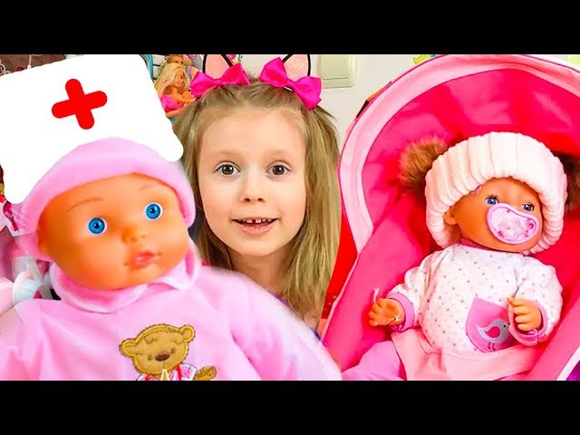 Nastya-i-interaktivnaya-kukla-Igraem-v-doktora-Funny-Baby-Playing-with-Baby-Doll-Video-for-kids