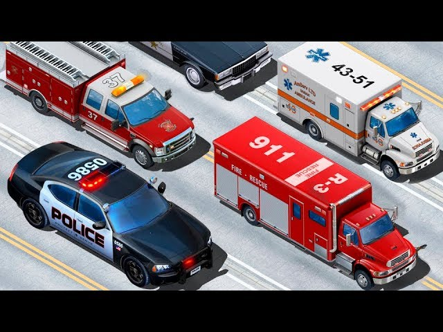 Multiki-pro-mashinki-Politsejskaya-mashinka-Skoraya-pomoshh-Multik-pazl.-Emergency-Vehicles-for-kids