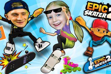 PRIKLYUCHENIYA-FFGTV-na-SKEJTE-v-igre-Epic-Skater-2-ZOMBI-na-SKEJTE-i-drugie-geroi-Papa-i-Milana-v-igre