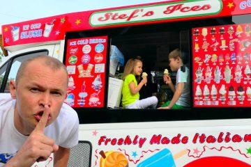 Vagonchik-morozhenogo-v-rasporyazhenii-DETEJ-ili-children-eat-ice-cream-in-a-Dads-ice-cream-truck