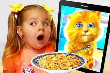 Diana-and-Funny-Cat-eats-Breakfast-and-Plays