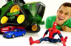 Video-s-igrushkami.-CHelovek-Pauk-i-Fyodor-prokachali-traktor