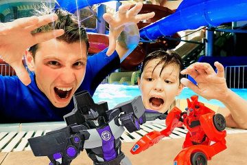 Roboty-Transformery-Igry-v-akvaparke-Deseptikony-protiv-Avtobotov