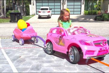 Katy-ride-on-kids-car-to-Egg-Hunt