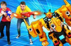 Video-igry-gonki-Monkart-Vasper-protiv-blasterov-Nerf-Detskoe-video