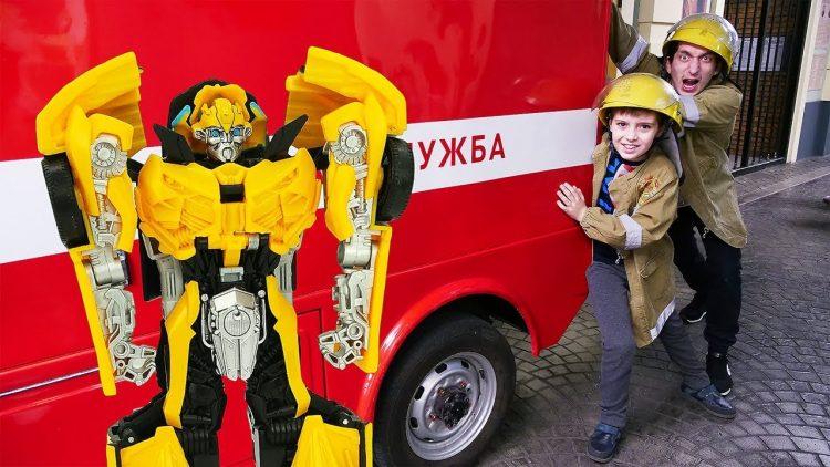Igry-s-Transformerami-Bamblbi-i-Pozharnye-na-zadanii-Video-dlya-detej-v-Masterslavle