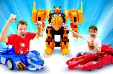 Video-dlya-detej-Leo-i-Draka-na-Turnire-Monkart-Igry-gonki-i-mashiny-transformery