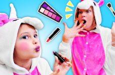 Smeshnoe-video-shou-Milaya-Edinorozhka-i-mamina-Kosmetika-Detskie-igry-odevalki-i-makiyazh