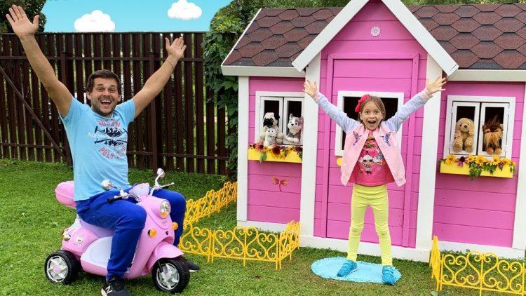 Sofiya-i-papa-stroyat-detskij-igrovoj-domik-Sofia-and-Dad-build-Playhouse-for-children