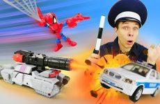 Igry-dlya-malchikov-Transformery-protiv-Politsei-skih-mashin-Video-shou-Avtomasterskaya