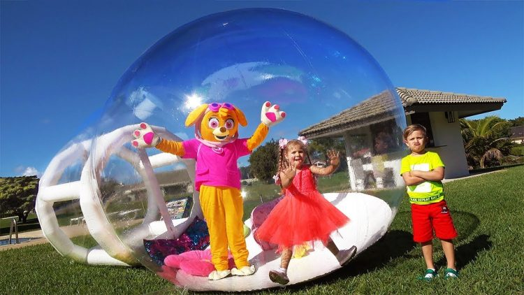 Diana-pretend-play-with-giant-PlayHouse-toy